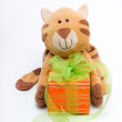 Funny toy cat with a gift - Stock Photo