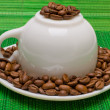 Cup and saucer with the coffee beans — Stock Photo