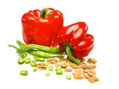 Red pepper, Bulgarian, almond, green pepper, white background — Stock Photo