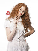 Girl with heart sign — Stock Photo