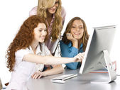 Girls at office — Stock Photo
