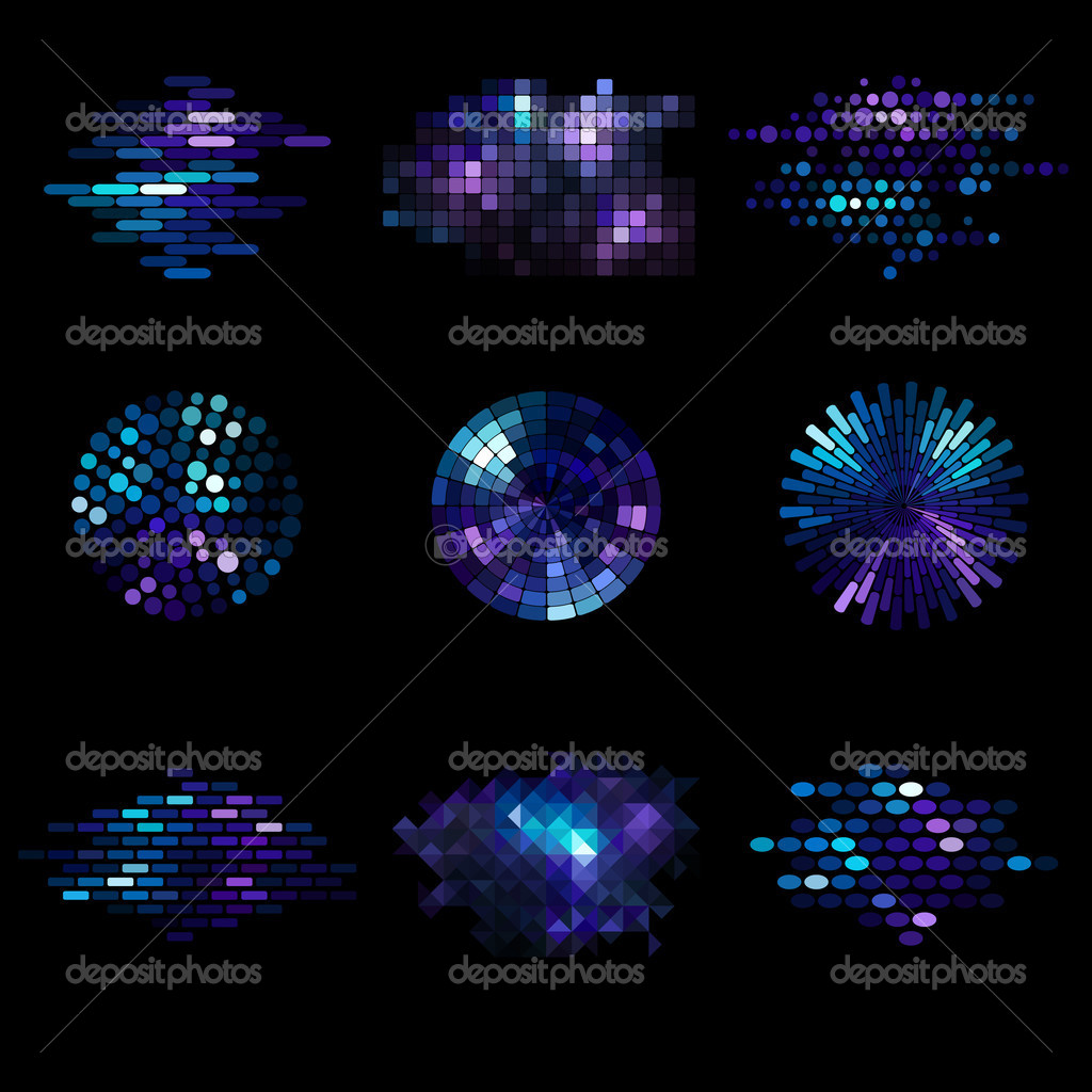 Set of nine mosaic elements  Stock Vector #6304746