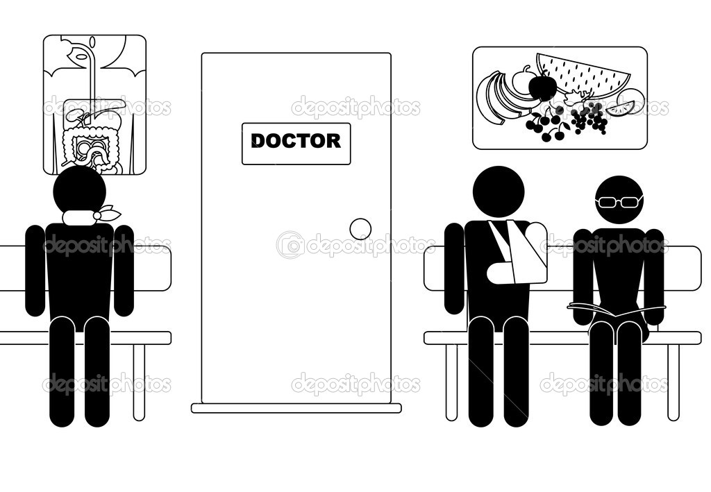 Waiting room, waiting to visit doctor — Stock Vector #6706644