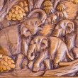 Elephant wood carved - Stock Photo