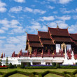 Beautiful Temple on blue sky background in thailand - Stock Photo