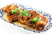 Pork ribs with sweet sauce on white background — Stock Photo