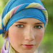 Beautiful girl in blue turban — Stock Photo