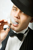 Gangster with cigar — Stock Photo