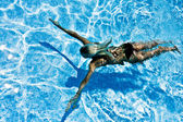 Women swimming underwater in pool — Stock Photo