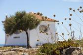 Beautiful house with round windows on the coast. — Stock Photo