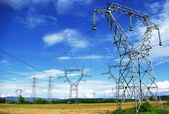 Electric pylones in fields — Stock Photo