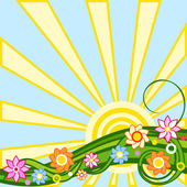 Spring background: sun and flower — Stock Vector