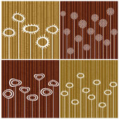 Four retro backgrounds on brown color — Stock Vector