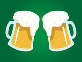Two mugs of beer on green — Stock Vector