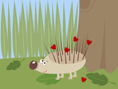 Hedgehog with hearts on thorns — Stock Vector