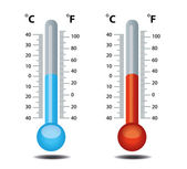 Thermometer vector, celsius, fahrenheit — Stock Vector