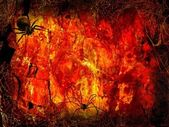 Halloween Fiery hall — Stock Photo