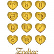 Royalty-Free Stock Vector Image: Zodiac Heart Gold, vector template