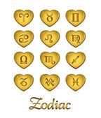 Zodiac Heart Gold, vector template — ストックベクタ