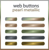 Web buttons - Pearl, Metal vector — Stock Vector