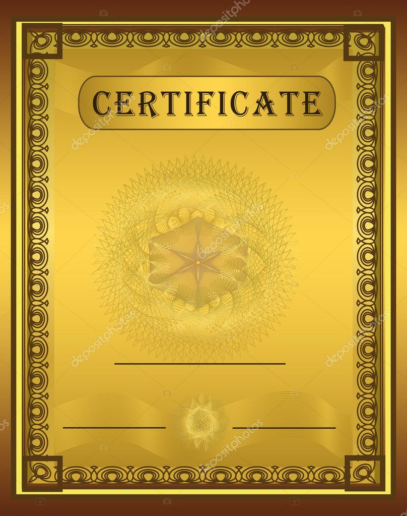 Certificate Gold Vertical vector template — Stock Vector #6337222
