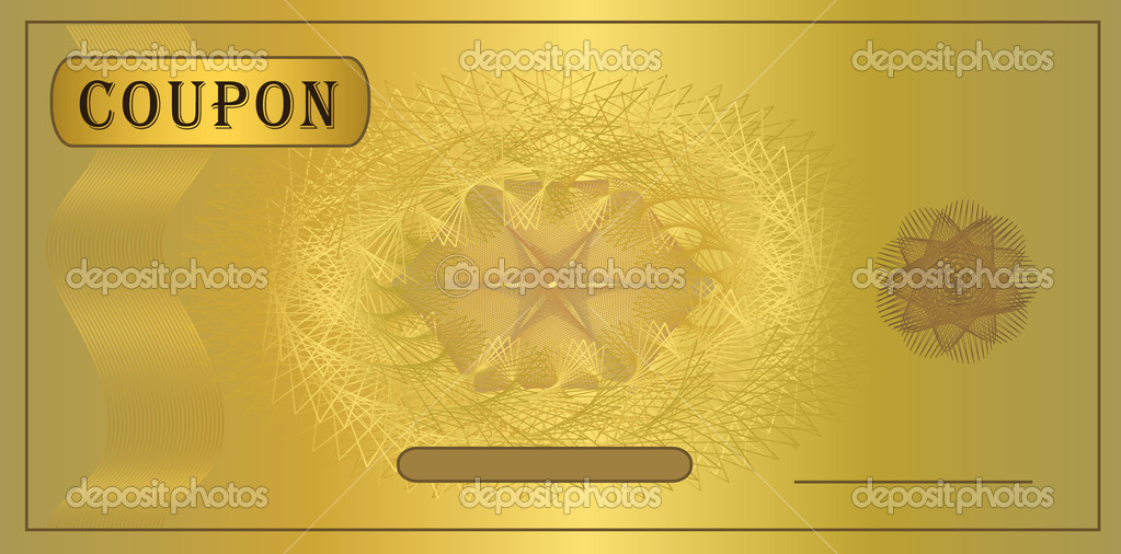 Coupon gold, template vector certificate  — Stock Vector #6337240