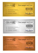 Vector Coupon trio Gold Silver Bronze template — Stock Vector
