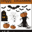 Halloween objects - bat pumpkin spider web house tree — Stock Vector