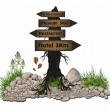 Vector Board tree wood guidepost sign — Image vectorielle