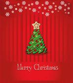 Merry Christmas congratulation vector, Red background — Stock Vector