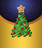 Merry Christmas, tree green vector gold card — Stock Vector