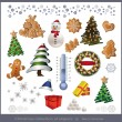 Raster Christmas object element - tree snowman thermometer gingerbread gift - Stock Photo