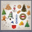 Vector Christmas object element - tree snowman thermometer gingerbread gift - Stock Vector