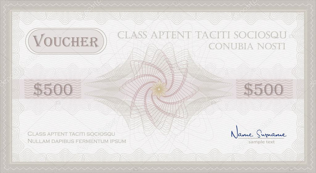 Vector Voucher Guilloche coupon certificate template security spirograph  Stockvectorbeeld #6603199