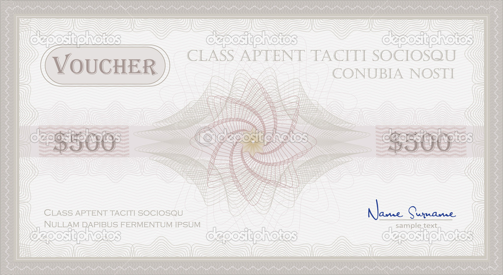 Vector Voucher Guilloche coupon certificate template security spirograph  Image vectorielle #6603199