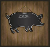 Raster Blackboard pig restaurant menu card — Stock Photo