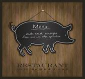 Vector Blackboard pig restaurant menu card — Stock Vector