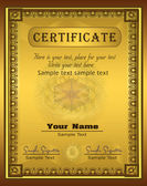 Vector Certificate gold frame Vertical — Stock Vector