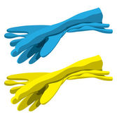 Set of rubber gloves for cleaning — Stock Vector