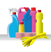 Cleaning set with bottles, sponge and gloves — Stock Vector