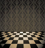 Retro checkered room with wallpaper — Stock Vector