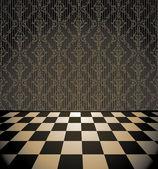 Retro checkered room with wallpaper — Stock Vector