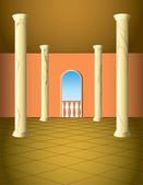 Column hall with window and a balcony — Stockvector