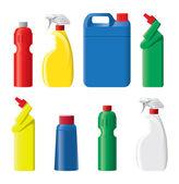 Plastic detergent bottles — Stock Vector