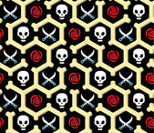 Pirate seamless wrapper with skulls, roses and knifes — Stock Vector