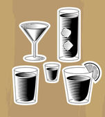 Woodcut cocktails set on the board — Stock Vector