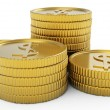 Pile of golden coins isolated - Foto Stock