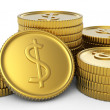 Pile of golden coins isolated — Stock Photo #6654079