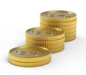 Pile of golden coins isolated — Stock Photo