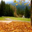 Autumnal Alpine landscape with white house - Stock Photo